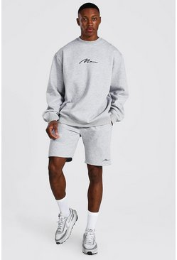 Grey marl Oversized Man Signature Short Sweat Tracksuit