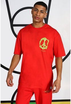Neon Peace Sign T-shirt, Red