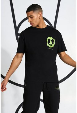 Black Neon Peace Sign T-shirt
