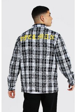 White Offcl Bandana Print Flannel Overshirt