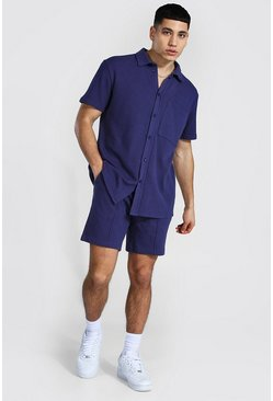 Navy Pique Short Sleeve Revere Shirt And Short