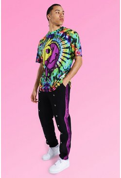 Multi Tall Oversized Tie Dye Tee With Popper Jogger