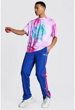 Pink Tall Oversized Tie Dye Tee With Popper Jogger