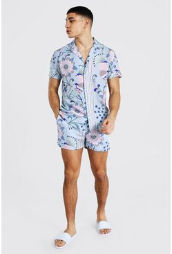 Light pink Short Sleeve Revere Floral Shirt And Swim