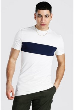 Ecru Muscle Fit Longline Colour Block T-shirt