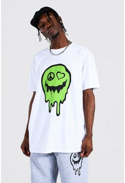 White Oversized Drip Face Print T-shirt