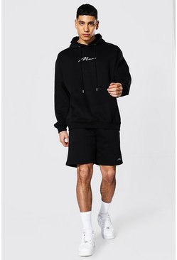 Sweat à capuche oversize et short de survêtement - MAN, Black