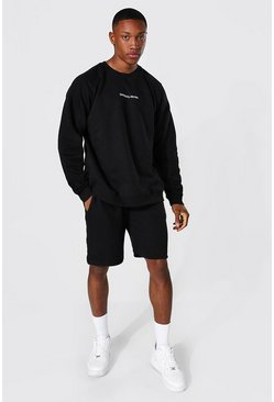 Oversized Official Man Raglan Short Tracksuit, Black