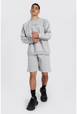 Oversized Official Man Raglan Short Tracksuit, Grey marl
