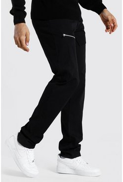 Black Tall Straight Leg Pants With Front Pockets