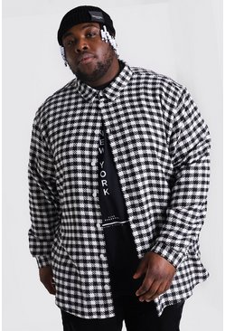 Black Plus Size Dogtooth Flannel Overshirt