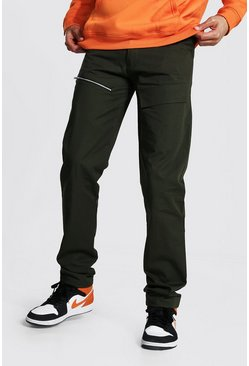 Khaki Tall Straight Leg Trousers With Front Pockets