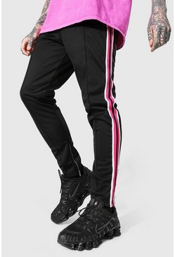 Pink Slim Fit Pintuck Tricot Jogger With Side Tape