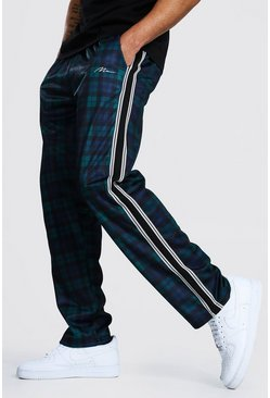 Navy Loose Man Signature Check Tricot Joggers