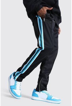 Blue Slim Fit Pintuck Tricot Jogger With Side Tape