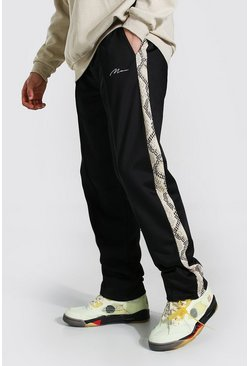 Black Loose Man Signature Snake Tricot Jogger