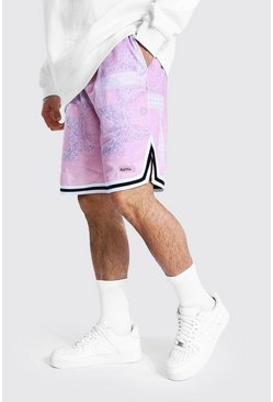Pink Loose Bandana Basketball Jersey Shorts
