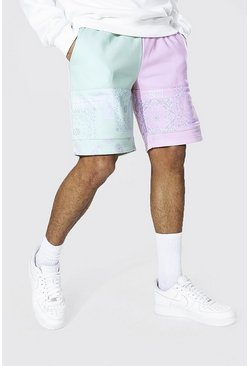 Sage Regular Man Bandana Spliced Jersey Shorts
