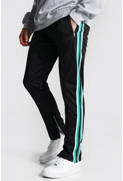 Green Slim Fit Pintuck Tricot Jogger With Side Tape
