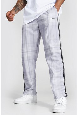 Grey Loose Man Signature Check Tricot Joggers