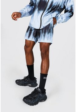 Grey Mid Length Tie Dye Shell Shorts