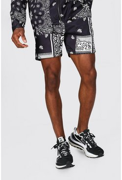 Black Mid Length Bandana Print Shell Shorts