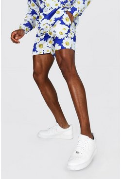 Blue Short Length Daisy Print Shell Shorts