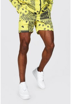 Yellow Mid Length Bandana Print Shell Shorts