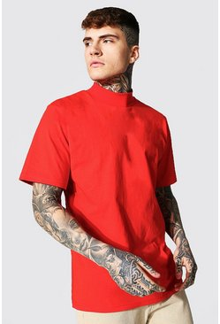 Red Oversized Boxy Funnel Neck Ss T-shirt