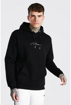Black Slim Fit Man Signature Over The Head Hoodie