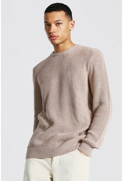 Taupe Tall Crew Neck Fisherman Rib Sweater