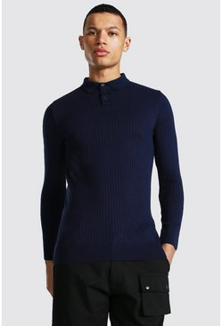 Navy Tall Long Sleeve Muscle Fit Ribbed Polo