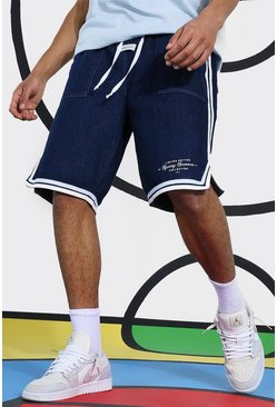 Indigo Denim Basketball Short With Side Tape