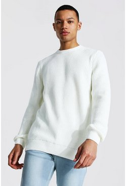 Cream Tall Crew Neck Fisherman Rib Sweater