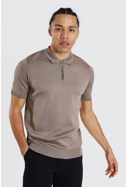 Camel Tall Short Sleeve Half Zip Knitted Polo