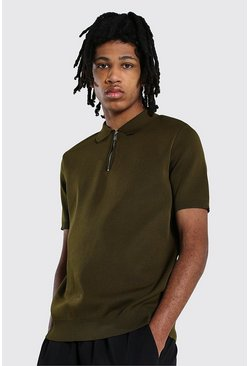 Khaki Tall Short Sleeve Half Zip Knitted Polo