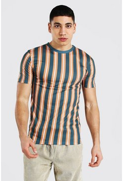 Muscle Fit Vertical Stripe T-shirt, Forest