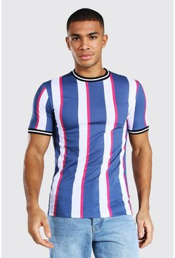 Muscle Fit Vertical Stripe Sports Rib T-shirt, Blue