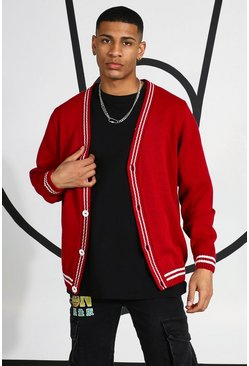 Varsity Cardigan With Back Embroidery, Red