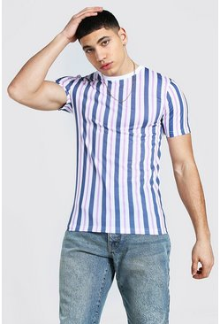 Muscle Fit Vertical Stripe T-shirt, White