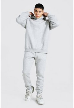 Grey marl Oversized Man Embroidered Marl Tracksuit