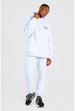 Ash grey Oversized Man Embroidered Marl Tracksuit