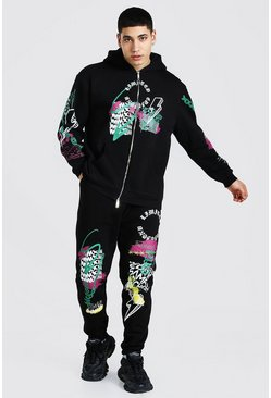 Black Oversized Graffiti Dual Zip Hooded Tracksuit