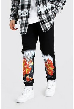 Black Regular Official Man Scorpion Print Joggers