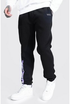 Black Regular Fit Original Man Graphic Print Joggers