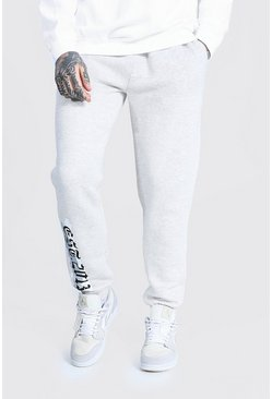 Grey marl Regular Fit Original Man Graphic Print Joggers