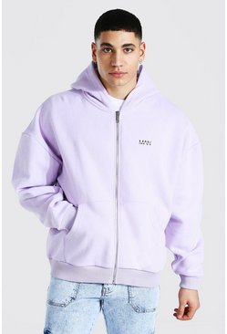 Sweat à capuche zippé coupe carrée - MAN, Lilac