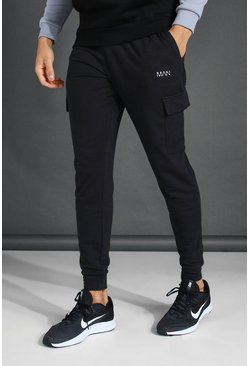 Black Man Cargo Joggers With Drawcord Detail