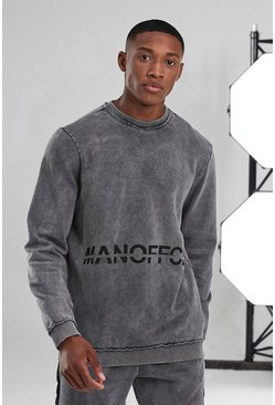 Charcoal Man Active Acid Wash Official Raw Sweatshirt