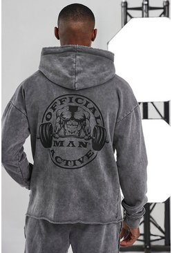 Charcoal Man Active Acid Wash Raw Official Logo Hoodie